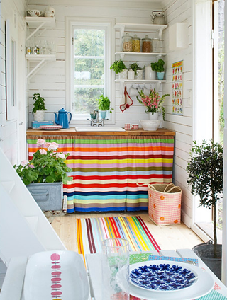 colorful potting room